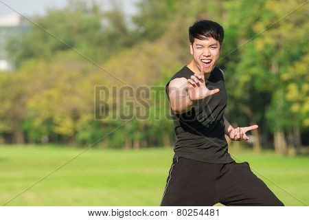 Man In A Kung Fu Position Ready To Strike