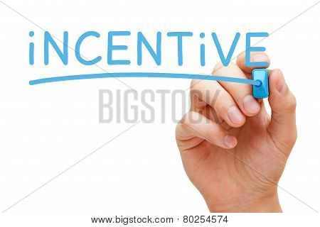 Hand writing Incentive with blue marker on transparent wipe board isolated on white. poster