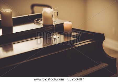 Piano Evening. Long Lonely Evening with the Piano and Champagne. poster