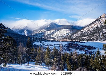 Rocky Mountains in Winter. Rocky Mountain National Park Colorado United States. poster
