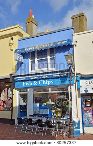 Fish & Chips Shop And Restaurant In Brighton, Uk.