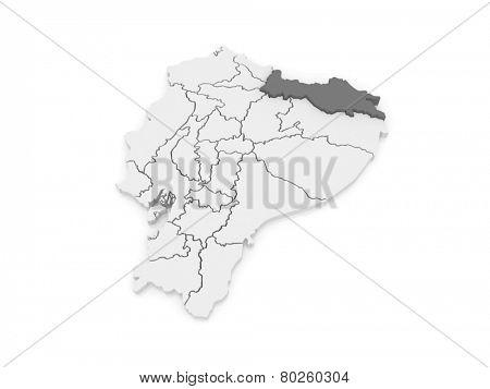 Map of Sucumbios. Ecuador. 3d