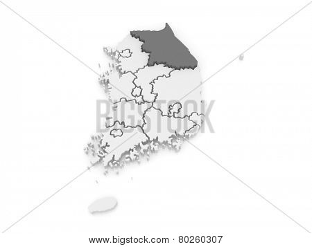 Map of Gangwon. South Korea. 3d