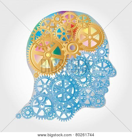 vector human profile with golden gears brain