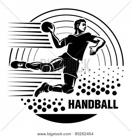 Handball. Vector illustration in the engraving style