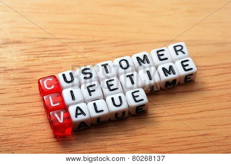 dice with word CLV customer lifetime value on wooden background poster