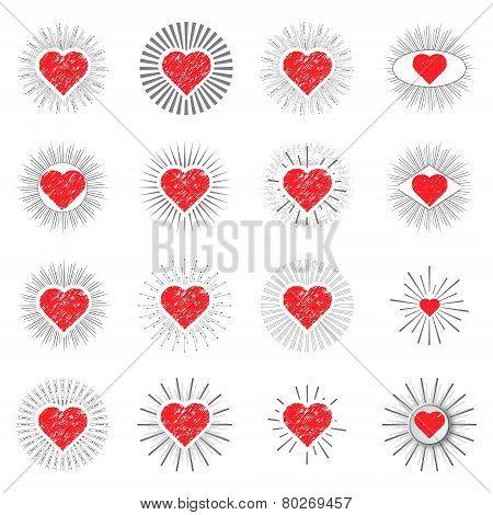 Set Red Heart Sunburst Templates For Labels