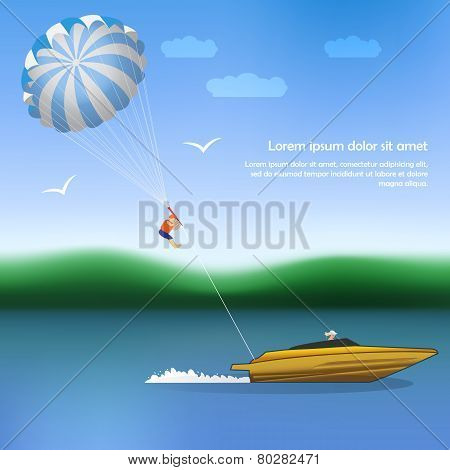 Summer parachuting over river with boat. Summer vocation. Extrim sport. poster