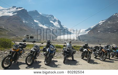 Columbia Icefield Landscape With Motorcycles In Alberta. Canada