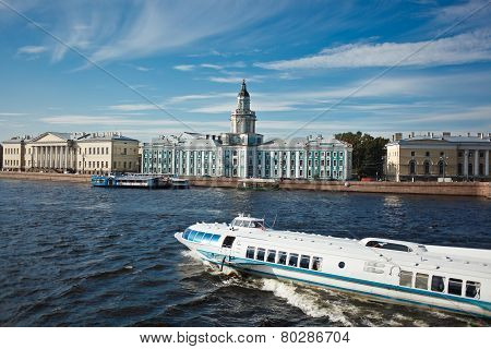 Horisontal view on Kunstkamera museum with ship in St. Petersburg Russia poster