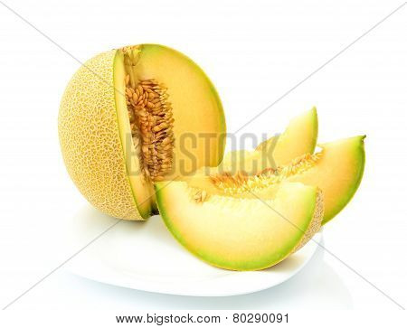 Melon Galia With Slices On Plate Isolated White In Studio