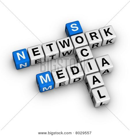 Social Media Network (blue-white cubes crossword series) poster