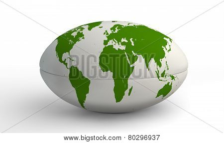Rugby Ball World Map On White