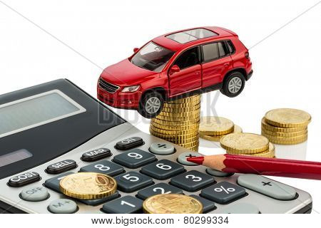 car and calculator. rising costs for car purchase, lease, service, refueling and insurance