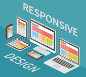 Responsive web design, application development and page construction. Isometric 3d flat style vector illustration. poster