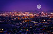 Phoenix Arizona Skyline at Night. Full Moon Over Phoenix Arizona United States. poster