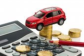 car and calculator. rising costs for car purchase, lease, service, refueling and insurance poster