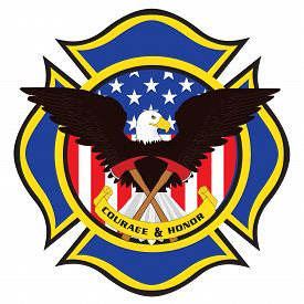 Fire Fighter Emblem With Eagle And Axes