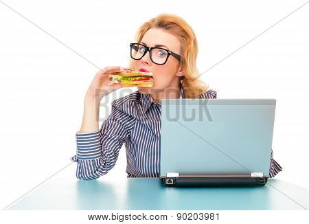 Funny Business Woman Eating Sandwich On Work, Isolatd On White. Studio Shot