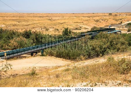 Large Water Pipe Line In The Negev Desert. Israel