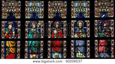 Stained Glass Window Depicting Catholic Saints In Sint-truiden Cathedral