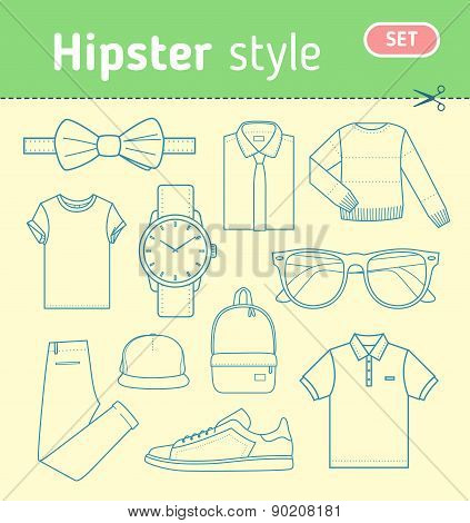 Hipster fashion look. Set of mens clothing.