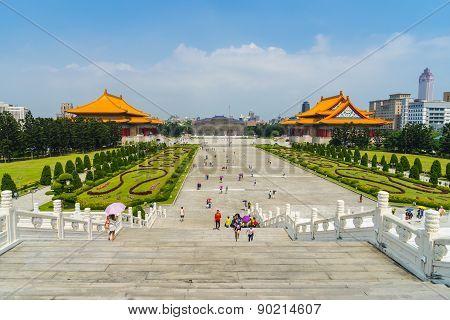 Libery Square with Chiang Kai-shek Memorial Garden in Taipei, Taiwan.