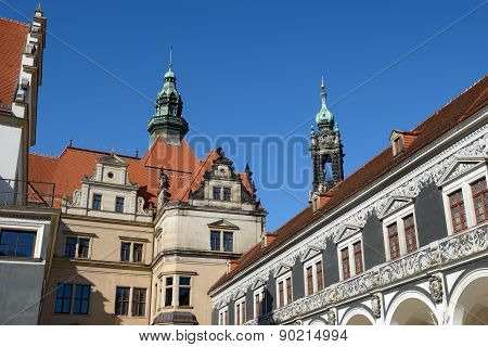 View From Stallhof Toward Roof Of George Gate, Dresden, Germany.