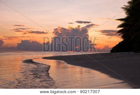 Maldivian beach at sunset, Kuramathi