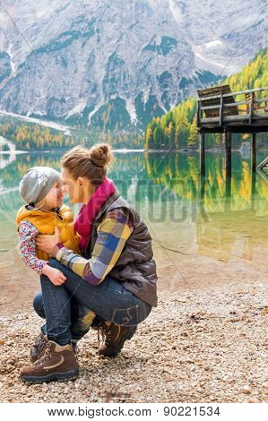 Mother And Daughter Eskimo Kisses On The Shores Of Lake Bries