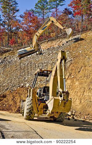 Excavator At Industrial Site