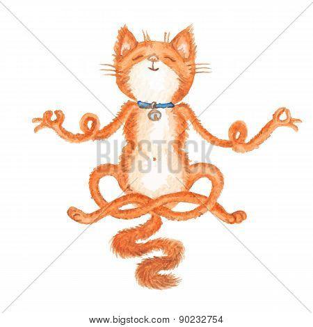 Watercolor Vector Cat