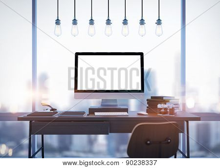Mock up of generic design computer screen and workspace. 3D rendering