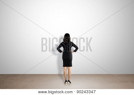 Backview Woman Facing Empty Wall