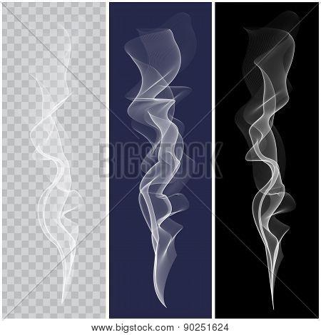 Set of realistic white smoke. Vector