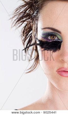 half face of fashion model