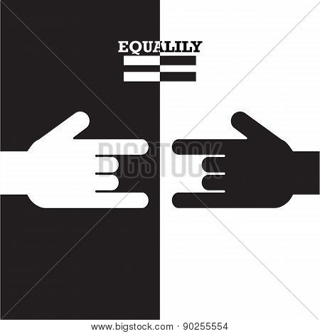 Black And White Hand With Equality Concept. Vector Illustration.