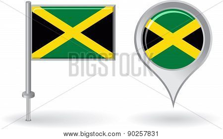 Jamaican pin icon and map pointer flag. Vector