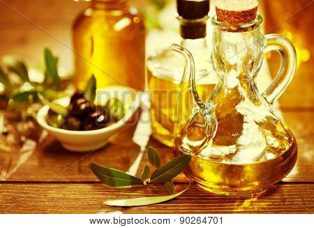 Olive Oil. Bottle of Virgin Olive Oil. Olives and Healthy Olive oil bottle. Diet. Dieting concept. Healthy eating