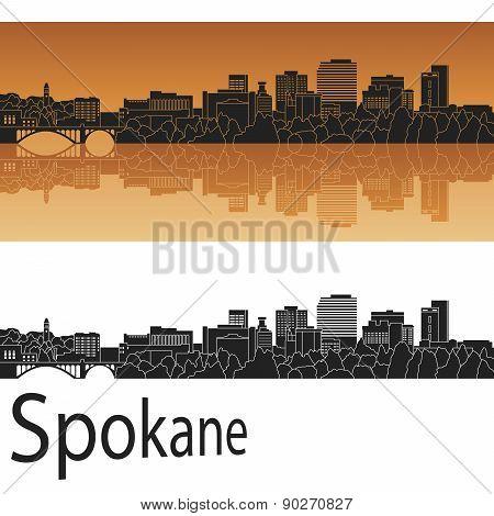 Spokane skyline in orange