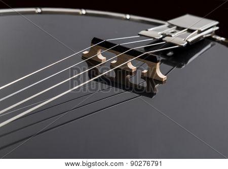 Metalic Black Banjo Isolated On Black Background