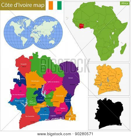 Administrative division of the Republic of Cote dIvoire poster