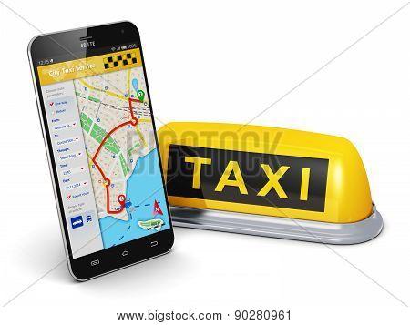 Internet taxi service concept