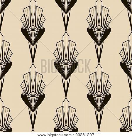 Seamless Antique Pattern Ornament. Geometric Art Deco Stylish Background Monochrome Colors