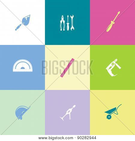 Industrial tools set. Flat color raster icons.