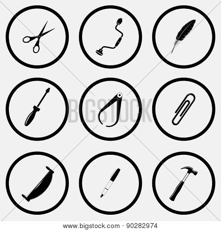 Angularly set. Black and white set raster icons.