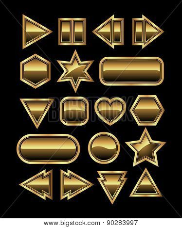 Set of golden buttons, vector