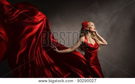 Model Red Dress, Glamour Woman Posing In Flying Long Silk Cloth, Beauty Fashion Portrait