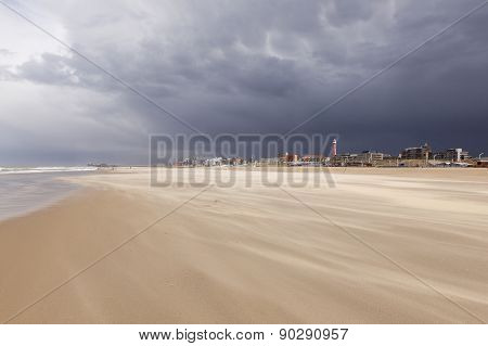 Storm Over Scheveningen Beach In The Netherlands