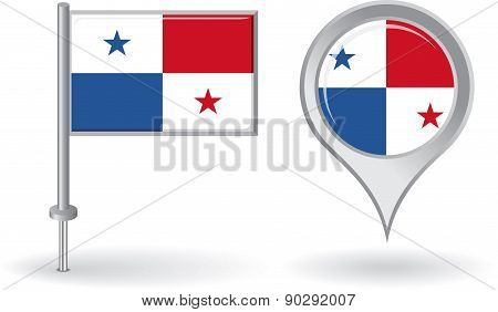 Panamanian pin icon and map pointer flag. Vector